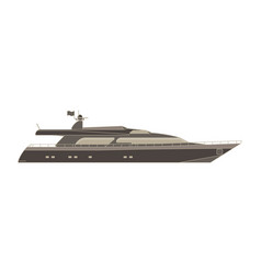 Yacht flat icon isolated boat side view cruise vector