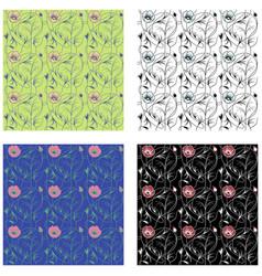art nouveau flowers pattern vector image vector image