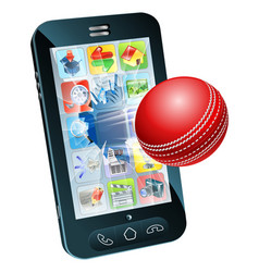 Cricket ball flying out of mobile phone vector