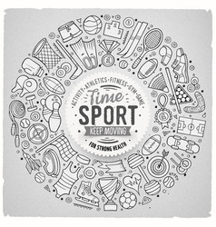 hand drawn set of sport cartoon doodle vector image vector image