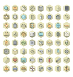 Icons line hexagonal ui miscellaneous vector