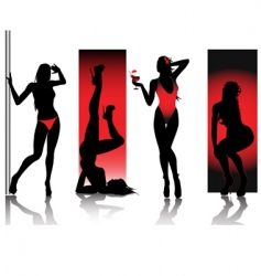 sexy silhouettes in red vector image