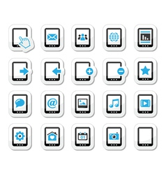 Tablet icons set - media settings web vector image
