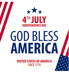 american independence day god bless america 4th vector image