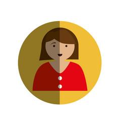 Circular frame with half body woman vector