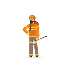 fireman character in uniform and protective mask vector image