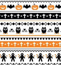Halloween seamless pattern - pumpkin ghost vector image