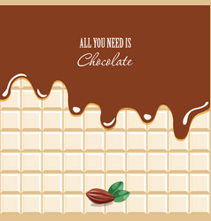 melted chocolate background with sample text vector image vector image