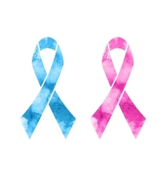 Pink and blue ribbons vector image