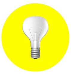 realistic light bulb on yellow vector image