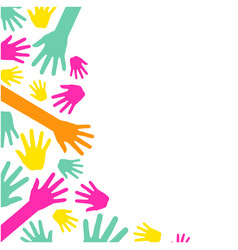 colorful hands up white background image vector image