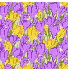 crocus seamless patterm 1 purple yellow vector image vector image