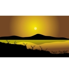 Grass silhouette in lake vector image vector image