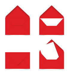 letter envelope in red color on white vector image