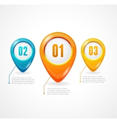 Map markers with numbers and text vector image vector image