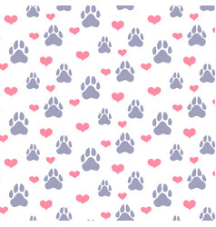 paw prints and hearts pattern vector image vector image