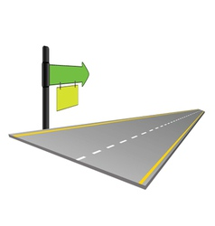 road with signboard color vector image vector image
