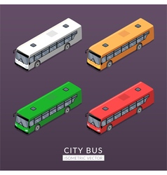 Set with city bus icons vector