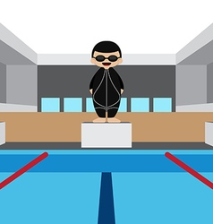 Swimming pool with swimming athlete vector image vector image