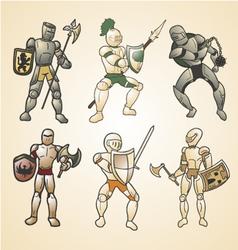 Vintage medieval warriors vector
