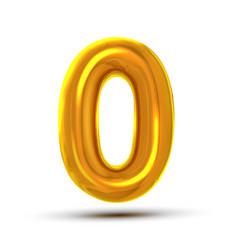 0 zero number golden yellow metal letter vector
