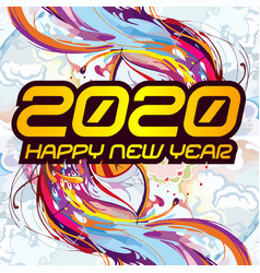 2020 colorful text isolated on black background vector image
