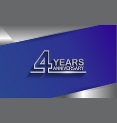 4 years anniversary silver color line style vector