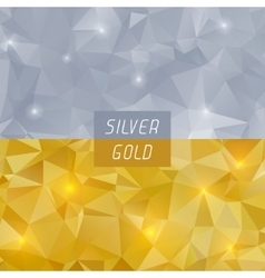 Abstract silver and gold polygonal triangular vector
