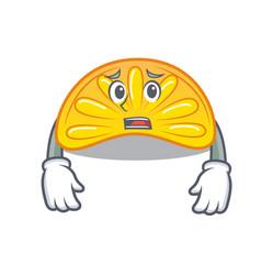 Afraid orange jelly candy mascot cartoon vector