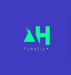 Ah letter logo design with negative space concept vector