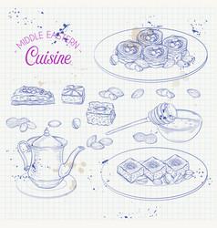 Arabic food traditional eastern cuisine vector