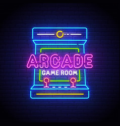 Arcade games neon sign game logo neon vector