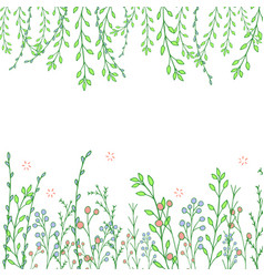 beautiful hand drawn greenery doddle background vector image