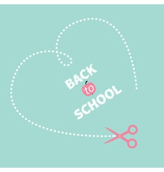 Big dash heart on the blue scissors back to school vector
