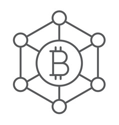 bitcoin network thin line icon money and finance vector image