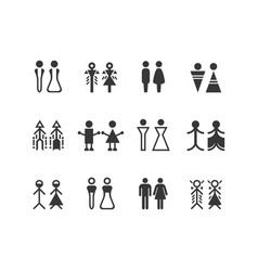 black silhouette male and female symbols set vector image