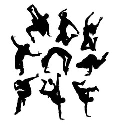 Break dancing hip hop activity silhouettes vector