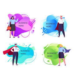 Business heroes businessman and businesswoman vector
