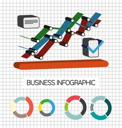 Business idea infographic with icons and charts fl vector image