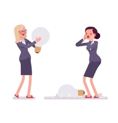 Businesswomen with light bulbs one is broken vector