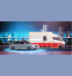 car accident scene of road crush with ambulance vector image