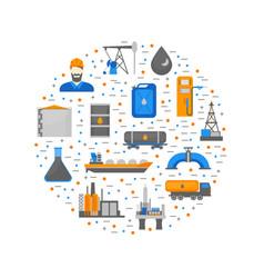 cartoon oil petroleum processing round design vector image