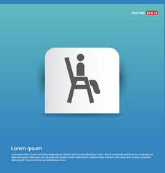 Chair icon - blue sticker button vector
