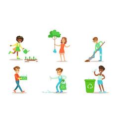 children volunteering in garden or park set vector image