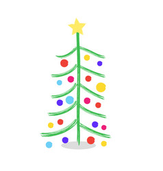 Christmas tree hand-drawn watercolor child vector