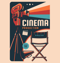 Cinema production retro poster with camera vector