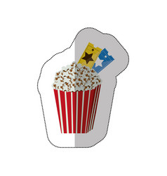 Color background sticker of popcorn container with vector