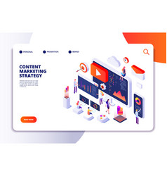 content marketing landing page contents creation vector image