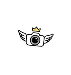 Creative black camera crown wings logo design vector