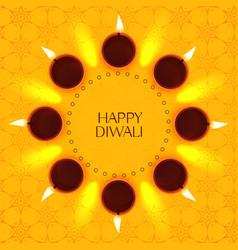 Creative diwali festival card design with diya vector